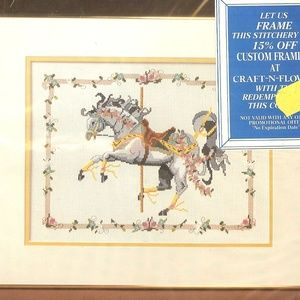 GRAY CAROUSEL HORSE Counted Cross Stitch Kit Vtg